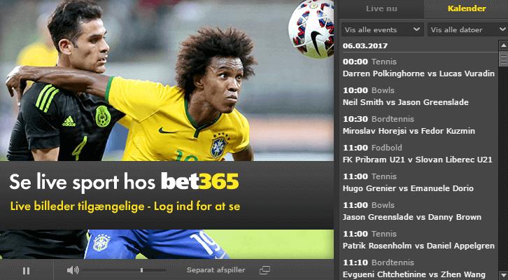 Live betting og live stream hos bet365