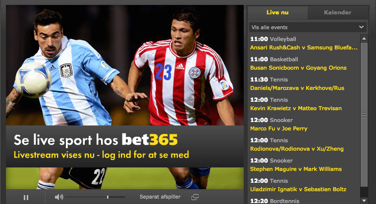 Live betting og live stream hos bet365